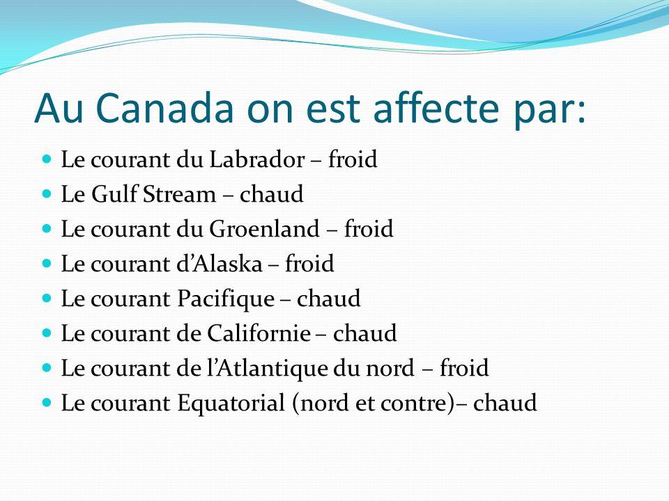 Au Canada on est affecte par: