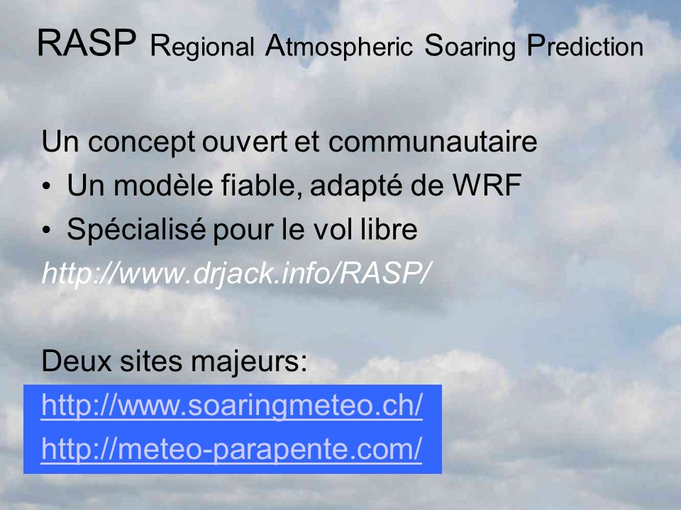 RASP Regional Atmospheric Soaring Prediction