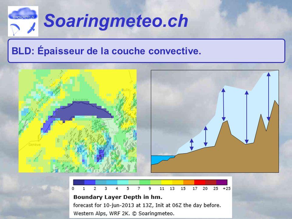 Soaringmeteo.ch BLD: Épaisseur de la couche convective.