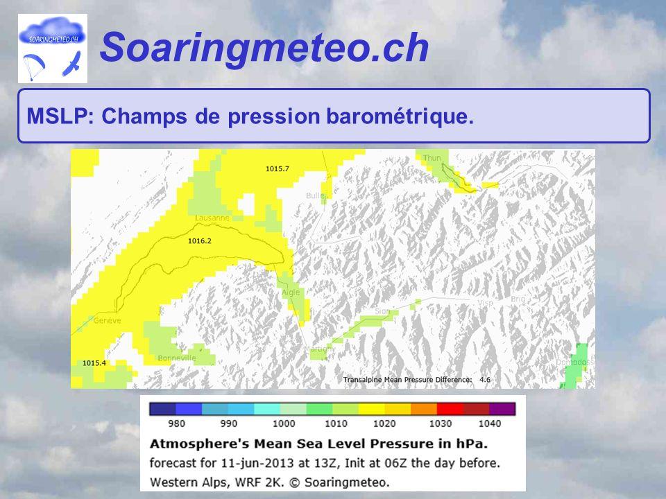 Soaringmeteo.ch MSLP: Champs de pression barométrique.