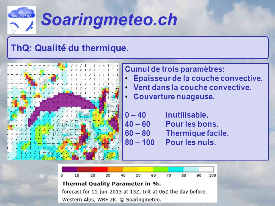 Soaringmeteo.ch ThQ: Qualité du thermique. Cumul de trois paramètres: