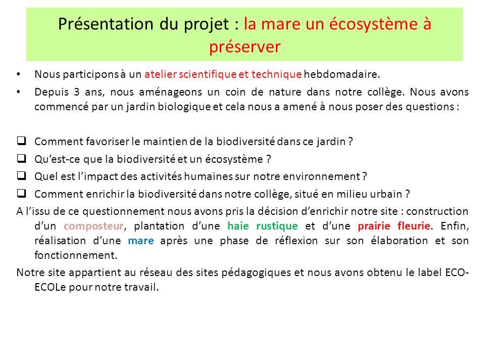 Présentation du projet : la mare un écosystème à préserver