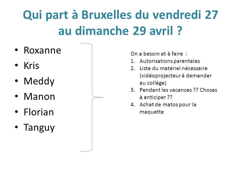 Qui part à Bruxelles du vendredi 27 au dimanche 29 avril