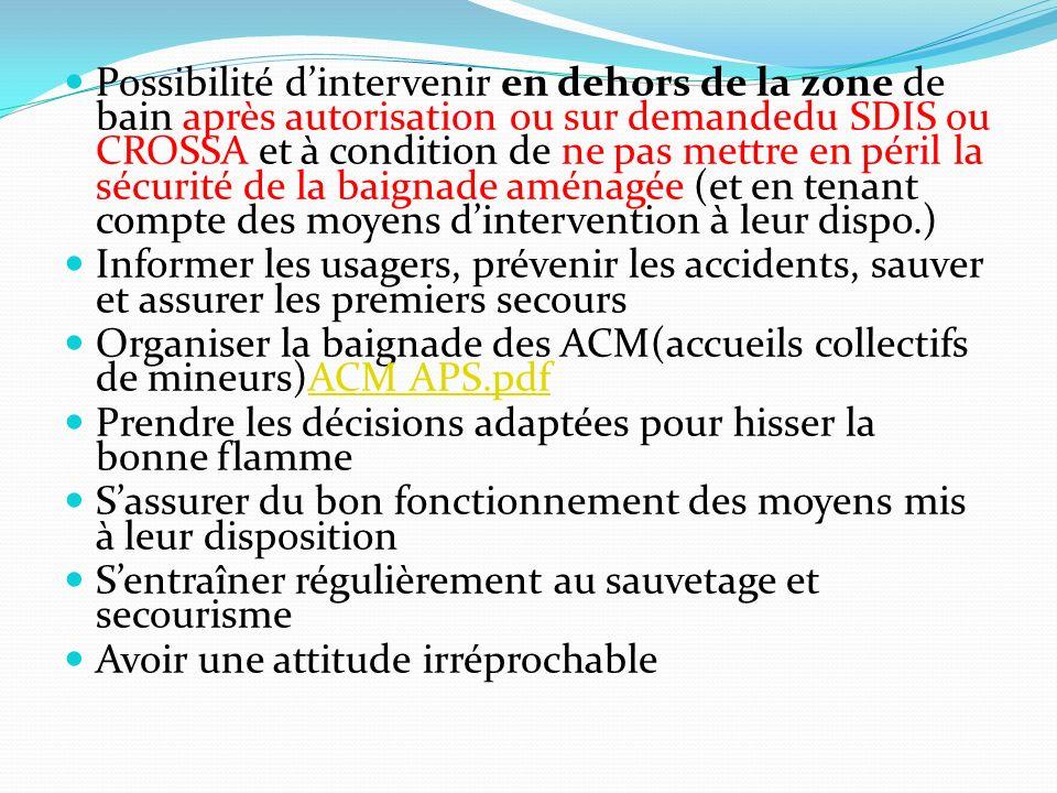 Possibilité d'intervenir en dehors de la zone de bain après autorisation ou sur demandedu SDIS ou CROSSA et à condition de ne pas mettre en péril la sécurité de la baignade aménagée (et en tenant compte des moyens d'intervention à leur dispo.)