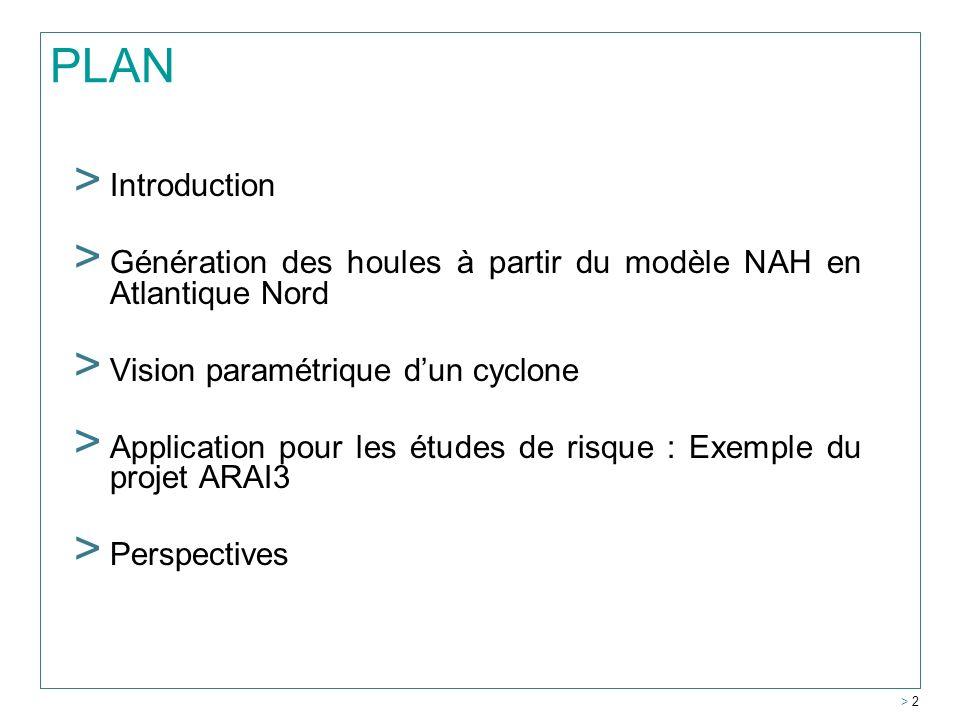 PLAN Introduction. Génération des houles à partir du modèle NAH en Atlantique Nord. Vision paramétrique d'un cyclone.