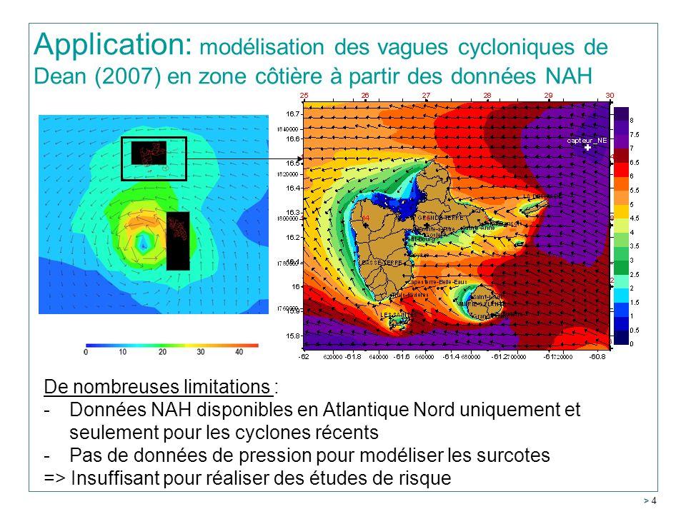Application: modélisation des vagues cycloniques de Dean (2007) en zone côtière à partir des données NAH