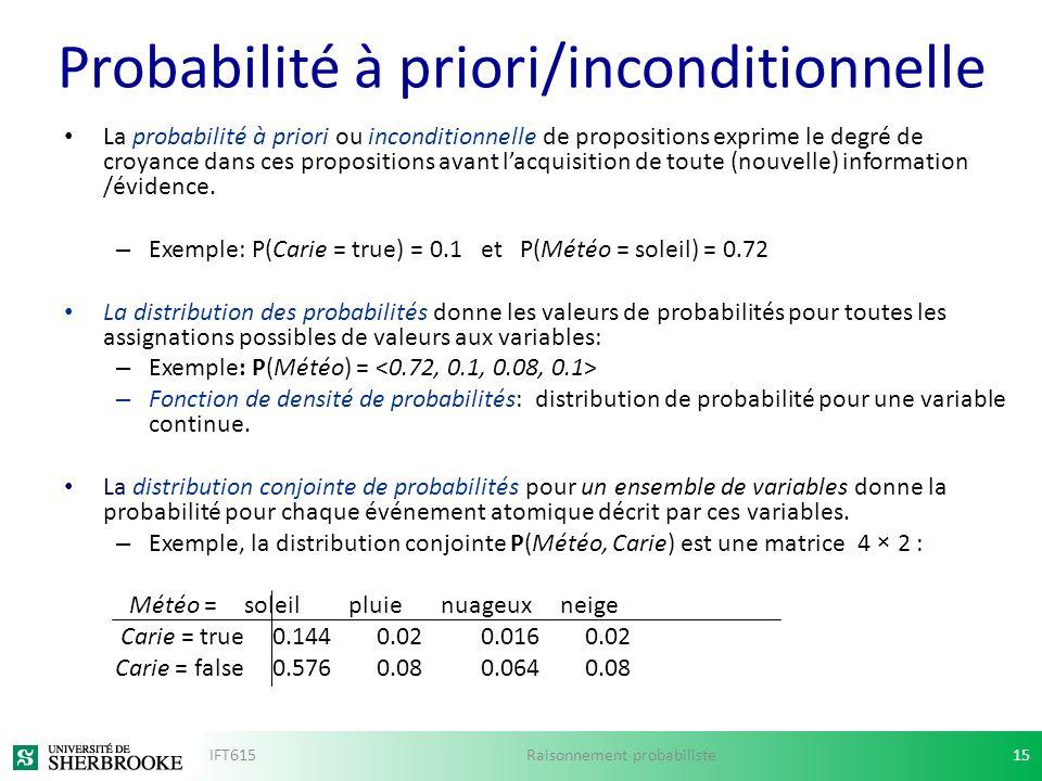 Probabilité à priori/inconditionnelle