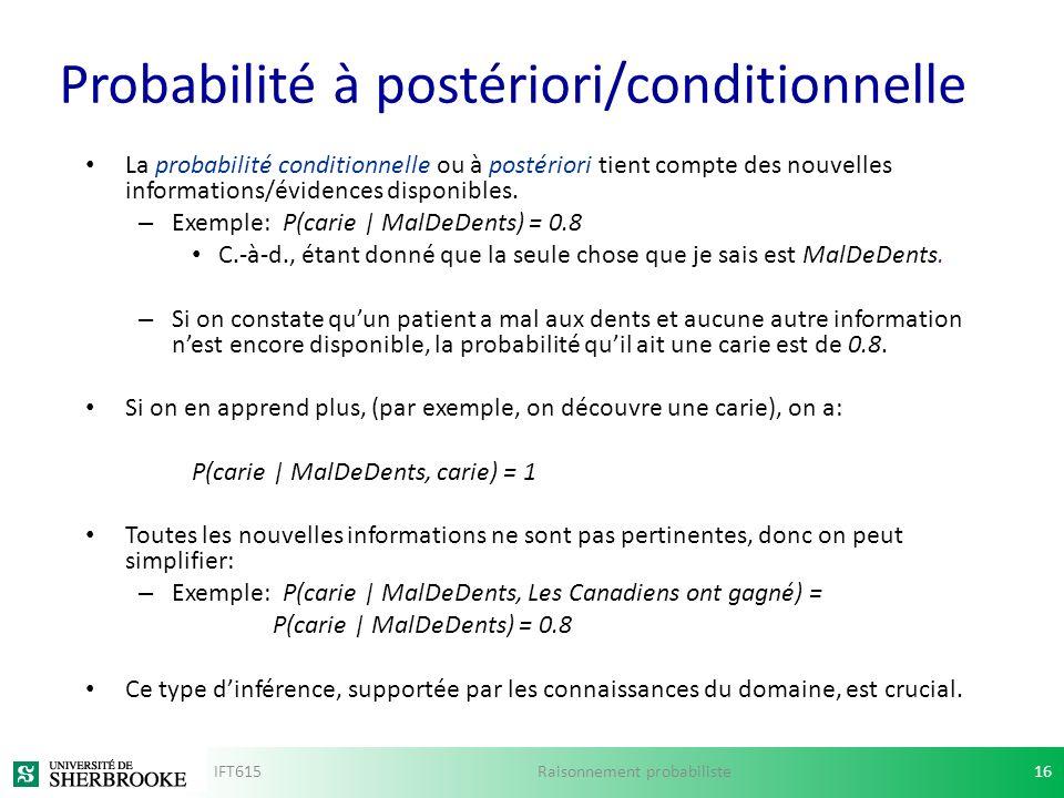 Probabilité à postériori/conditionnelle