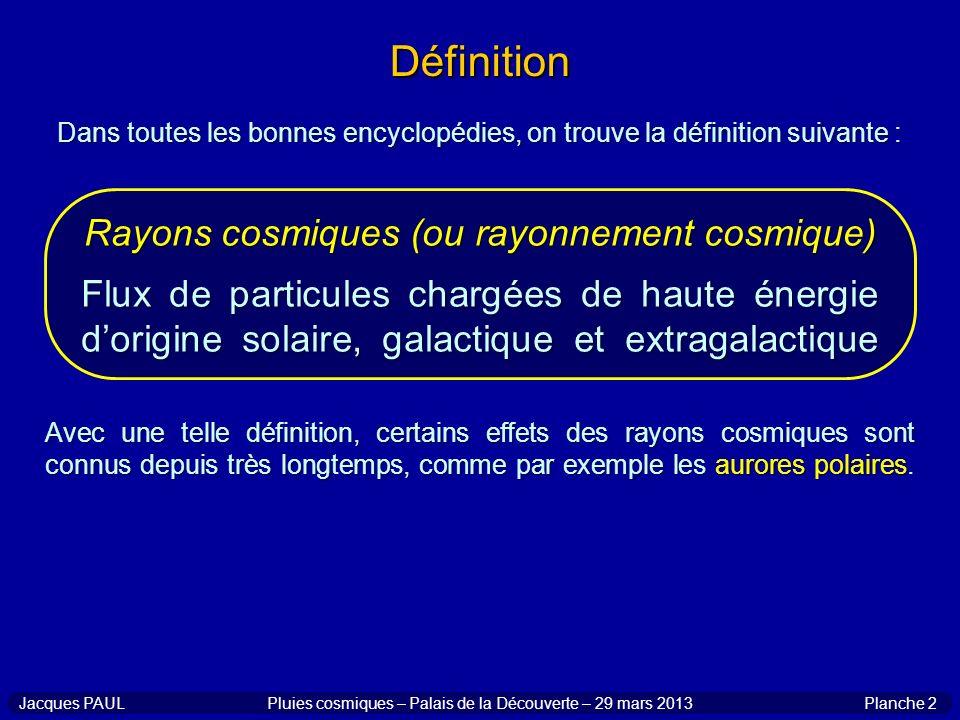 Définition Rayons cosmiques (ou rayonnement cosmique)