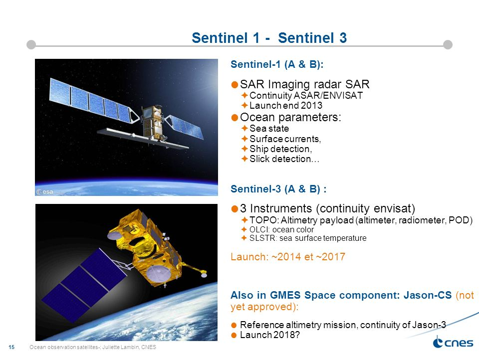 Sentinel 1 - Sentinel 3 SAR Imaging radar SAR Ocean parameters: