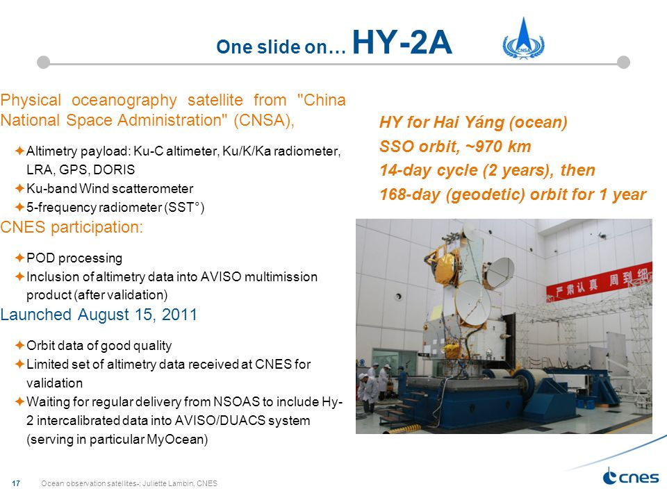 One slide on… HY-2A Physical oceanography satellite from China National Space Administration (CNSA),