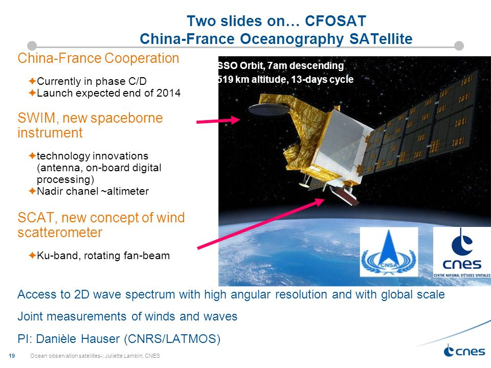 Two slides on… CFOSAT China-France Oceanography SATellite