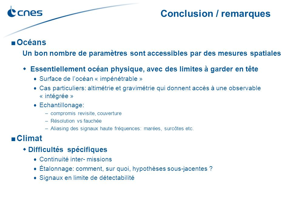 Conclusion / remarques