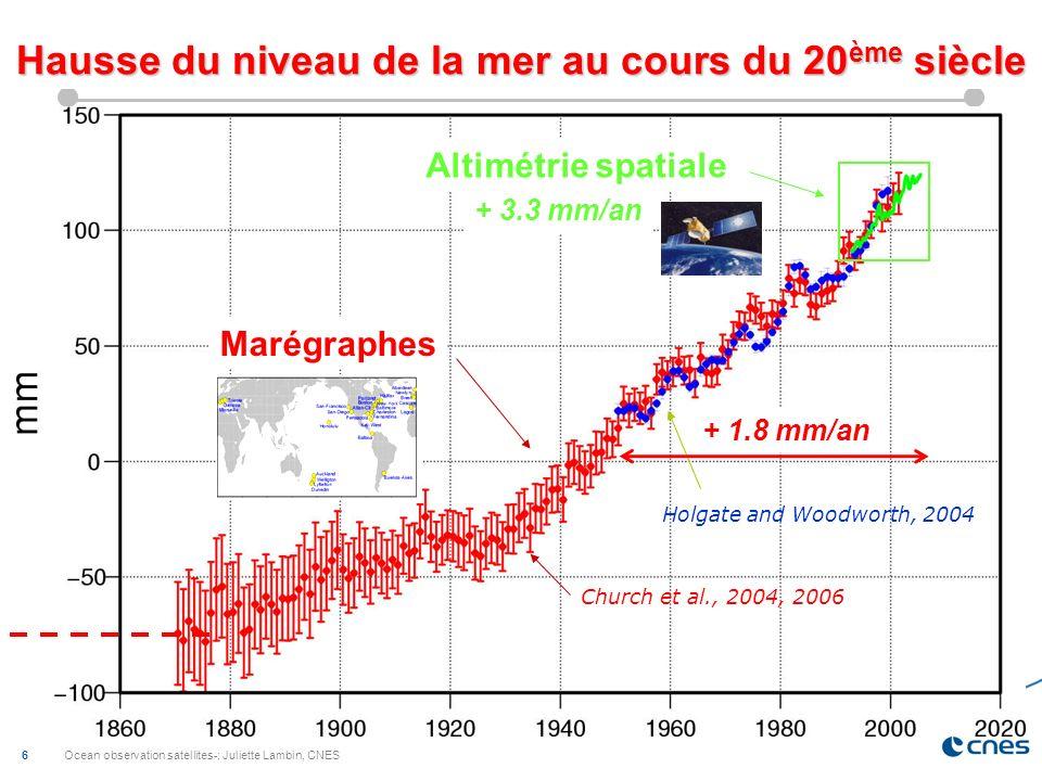 Hausse du niveau de la mer au cours du 20ème siècle
