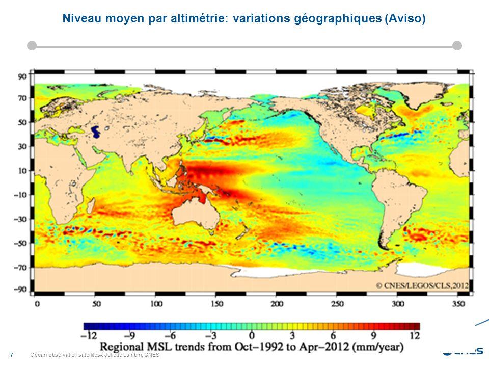 Niveau moyen par altimétrie: variations géographiques (Aviso)