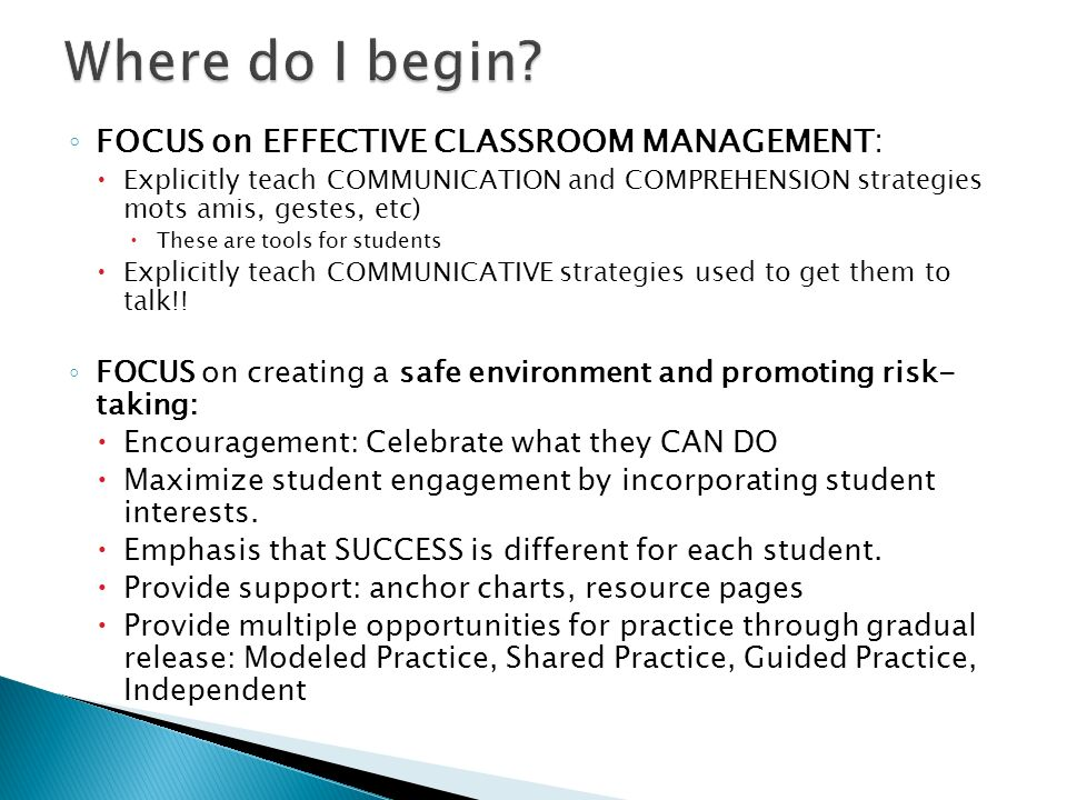 Where do I begin FOCUS on EFFECTIVE CLASSROOM MANAGEMENT: