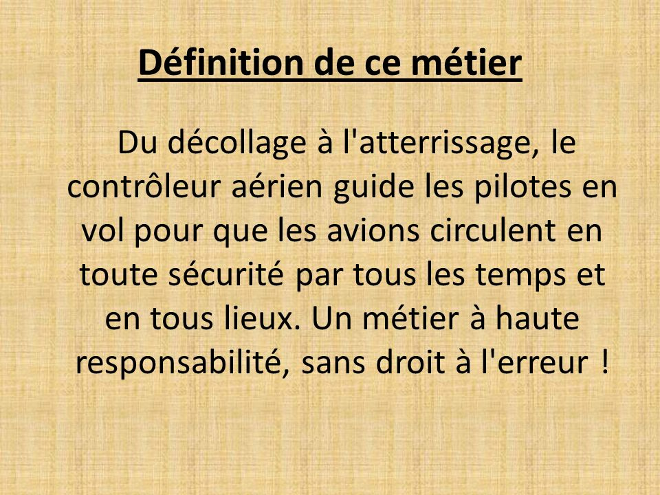Le m tier de contr leur a rien ppt video online t l charger for Architecte definition du metier