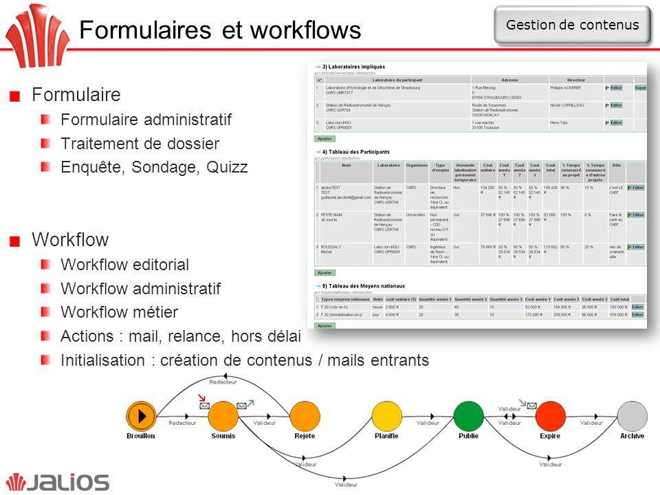 Formulaires et workflows