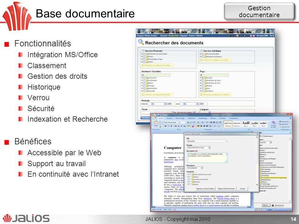 Base documentaire Fonctionnalités Bénéfices Intégration MS/Office