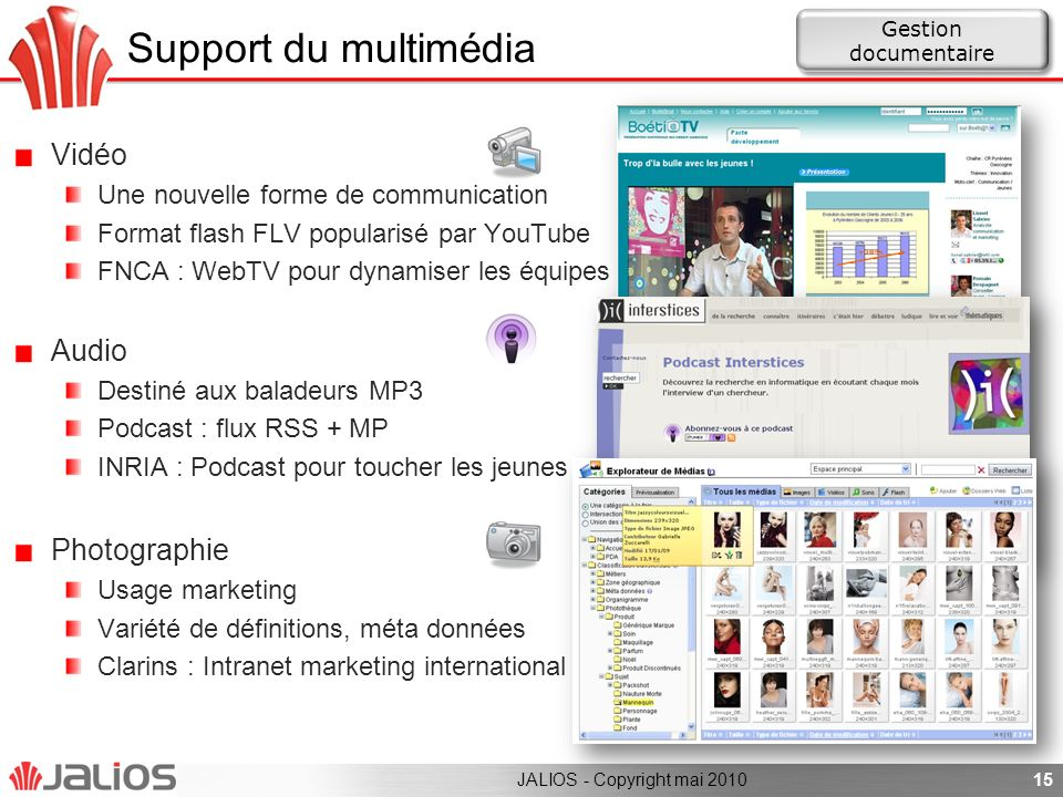 Support du multimédia Vidéo Audio Photographie
