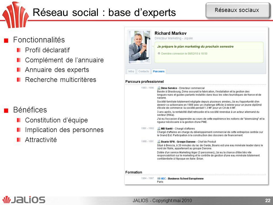 Réseau social : base d'experts