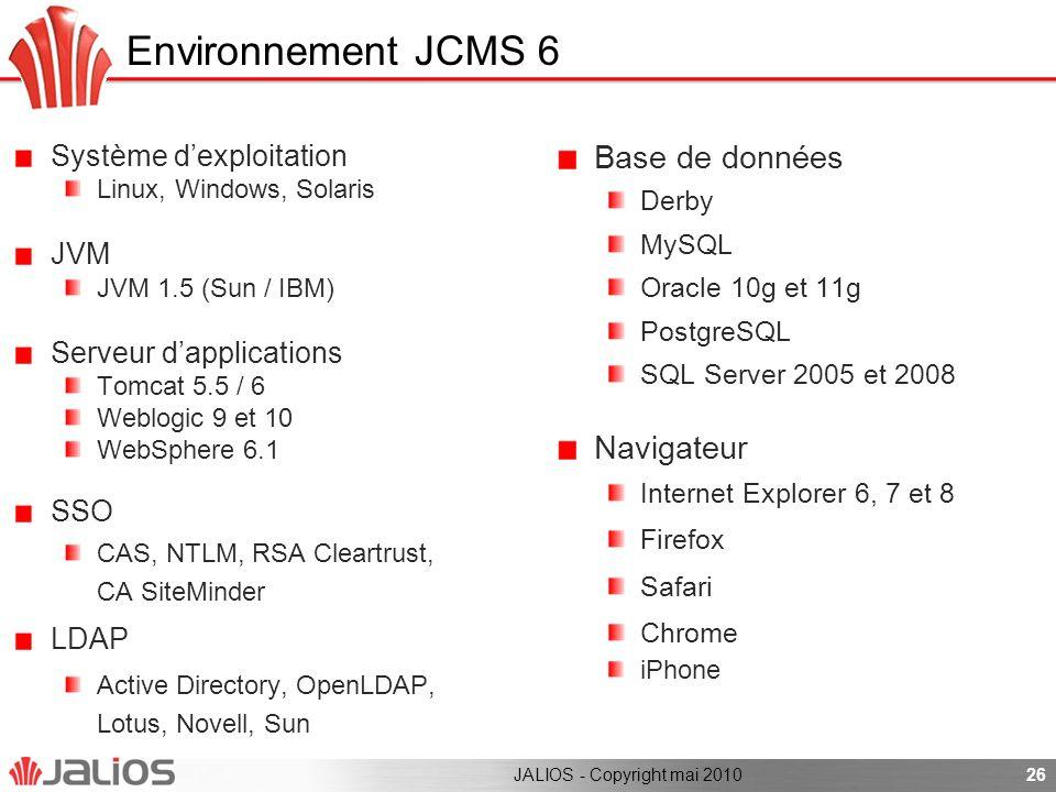 Environnement JCMS 6 Base de données Navigateur Système d'exploitation