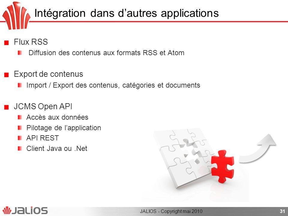 Intégration dans d'autres applications