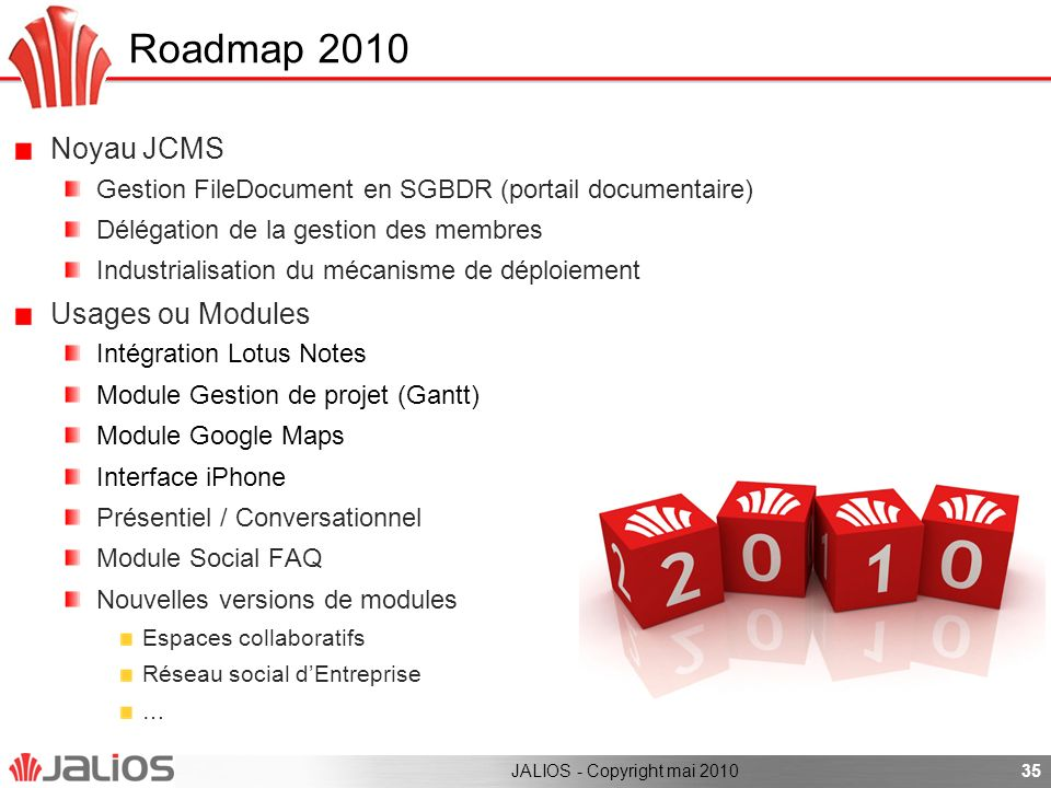 Roadmap 2010 Noyau JCMS Usages ou Modules