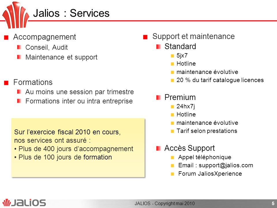 Jalios : Services Accompagnement Support et maintenance Standard