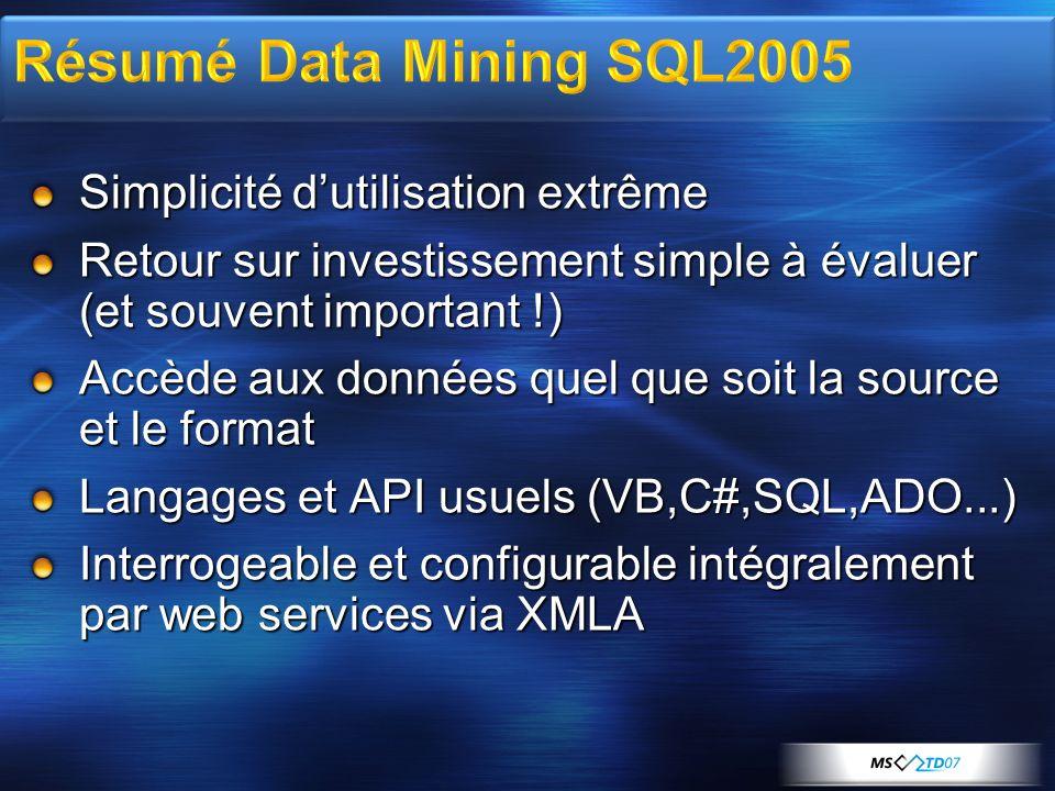 Résumé Data Mining SQL2005 Simplicité d'utilisation extrême