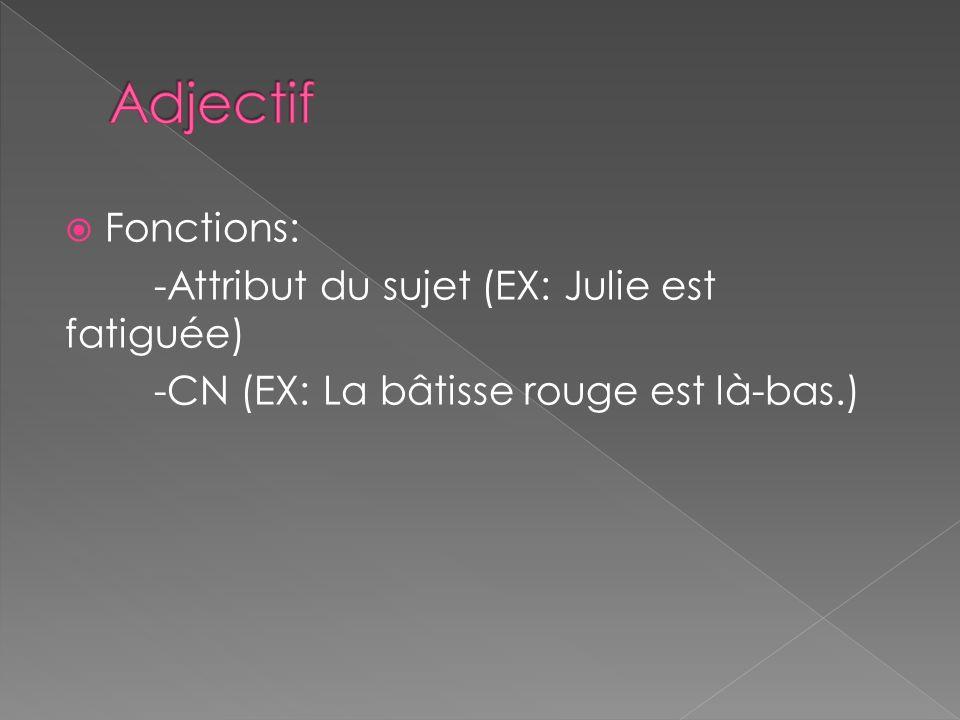 Adjectif Fonctions: -Attribut du sujet (EX: Julie est fatiguée)