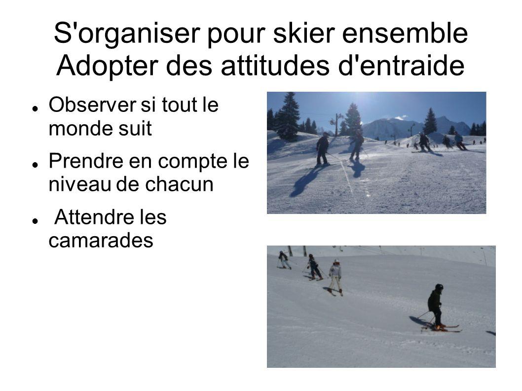 S organiser pour skier ensemble Adopter des attitudes d entraide