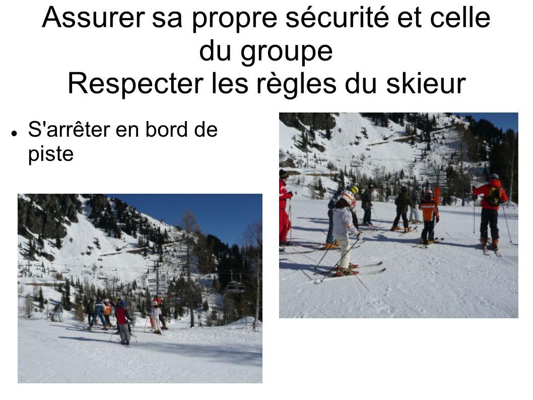 Assurer sa propre sécurité et celle du groupe Respecter les règles du skieur