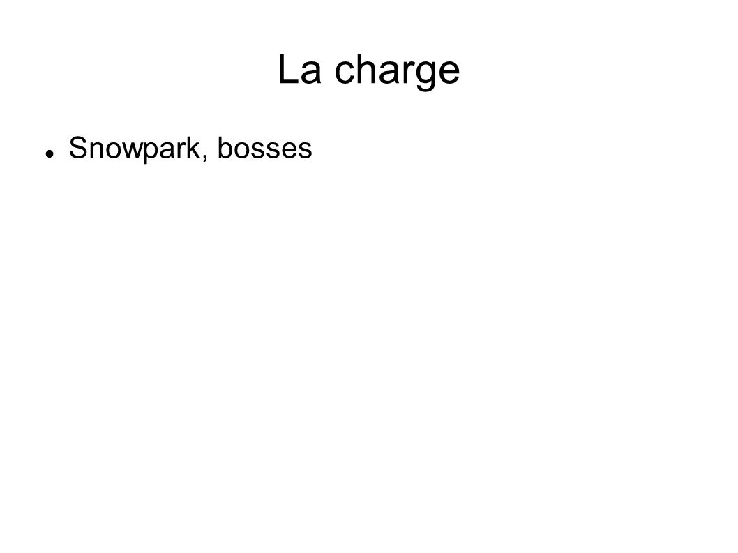 La charge Snowpark, bosses