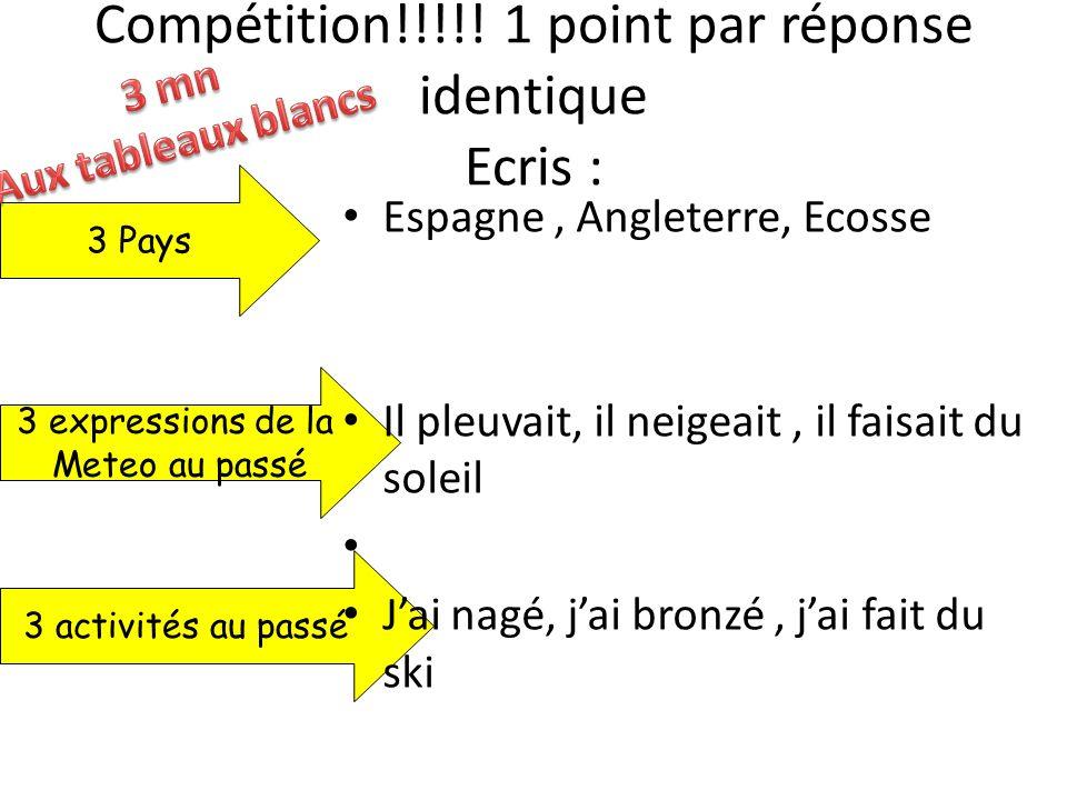 Compétition!!!!! 1 point par réponse identique Ecris :