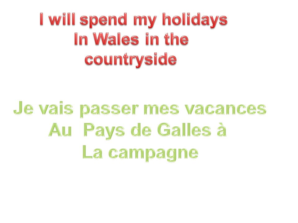 I will spend my holidays Je vais passer mes vacances