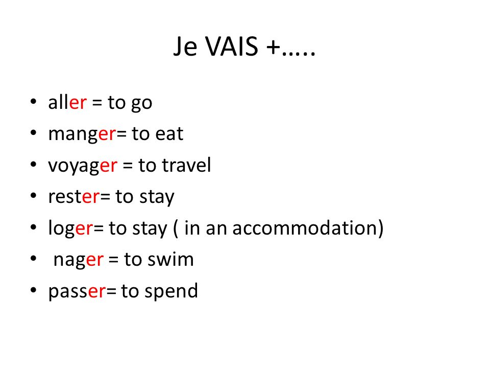 Je VAIS +….. aller = to go manger= to eat voyager = to travel