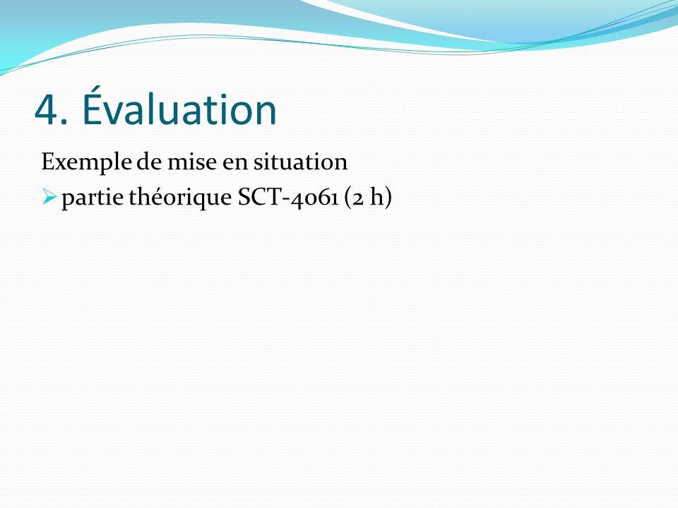 4. Évaluation Exemple de mise en situation