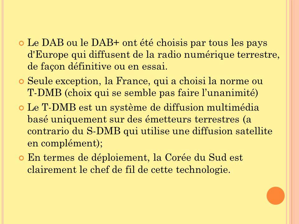 Le DAB ou le DAB+ ont été choisis par tous les pays d Europe qui diffusent de la radio numérique terrestre, de façon définitive ou en essai.