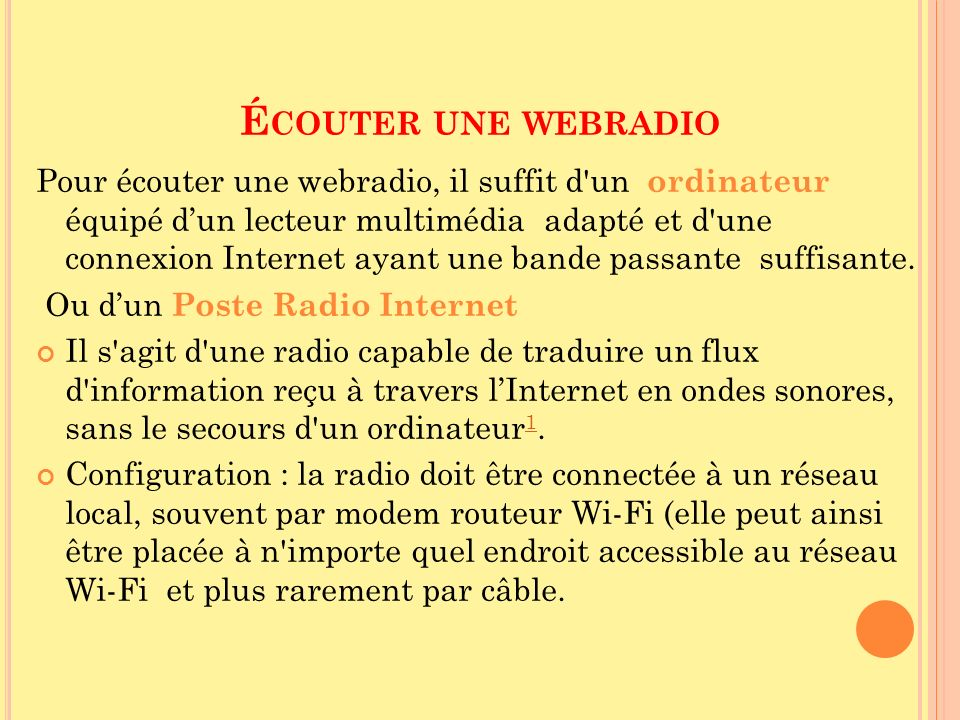 Écouter une webradio