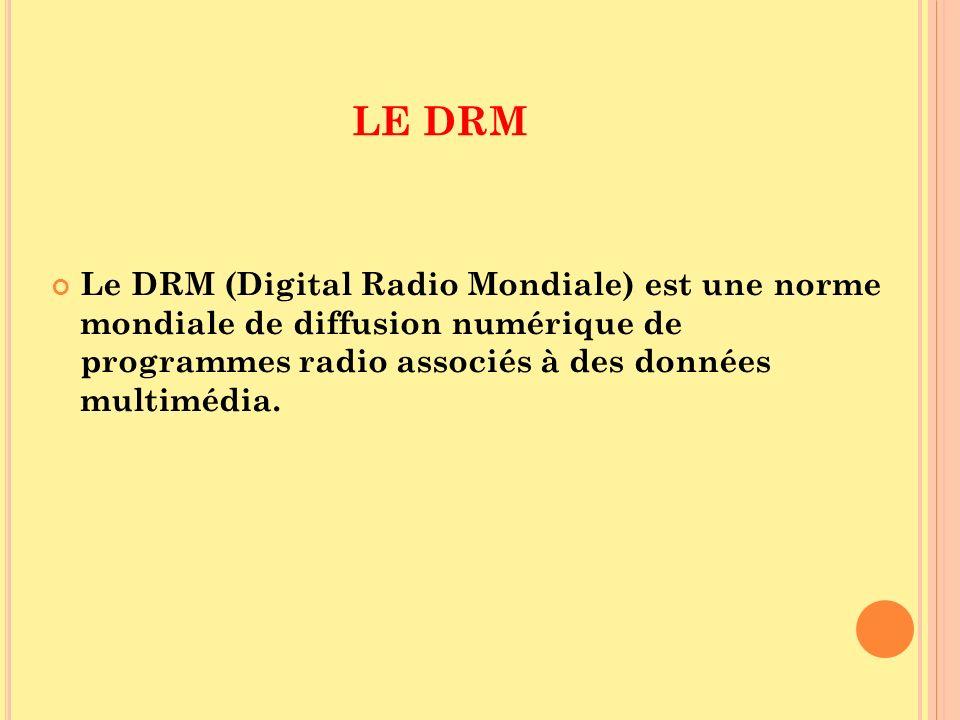 LE DRM Le DRM (Digital Radio Mondiale) est une norme mondiale de diffusion numérique de programmes radio associés à des données multimédia.