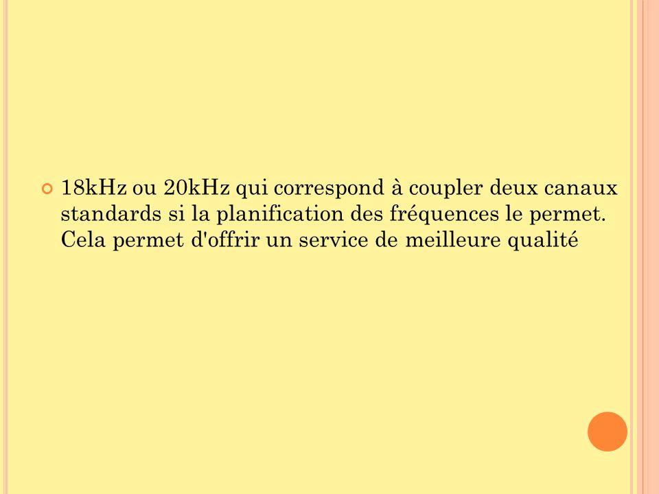 18kHz ou 20kHz qui correspond à coupler deux canaux standards si la planification des fréquences le permet.