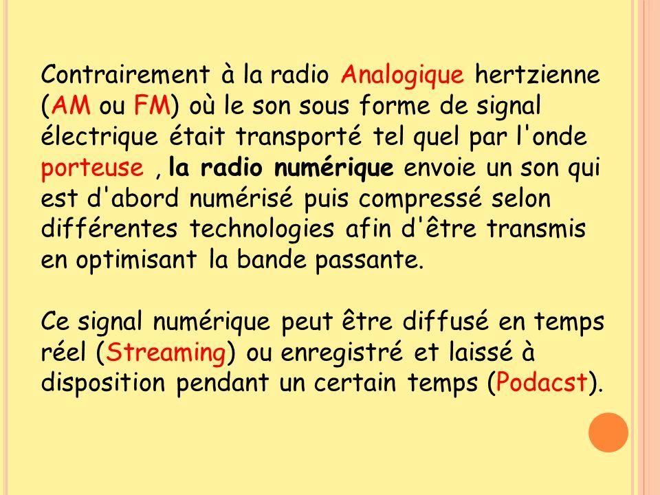 Contrairement à la radio Analogique hertzienne (AM ou FM) où le son sous forme de signal électrique était transporté tel quel par l onde porteuse , la radio numérique envoie un son qui est d abord numérisé puis compressé selon différentes technologies afin d être transmis en optimisant la bande passante.