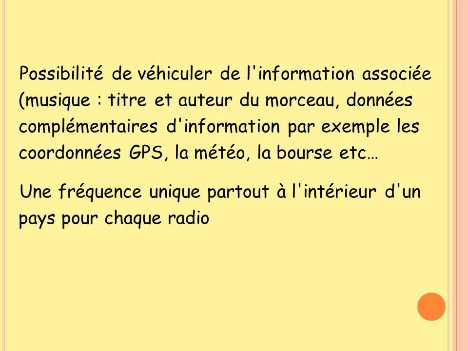 Possibilité de véhiculer de l information associée (musique : titre et auteur du morceau, données complémentaires d information par exemple les coordonnées GPS, la météo, la bourse etc…