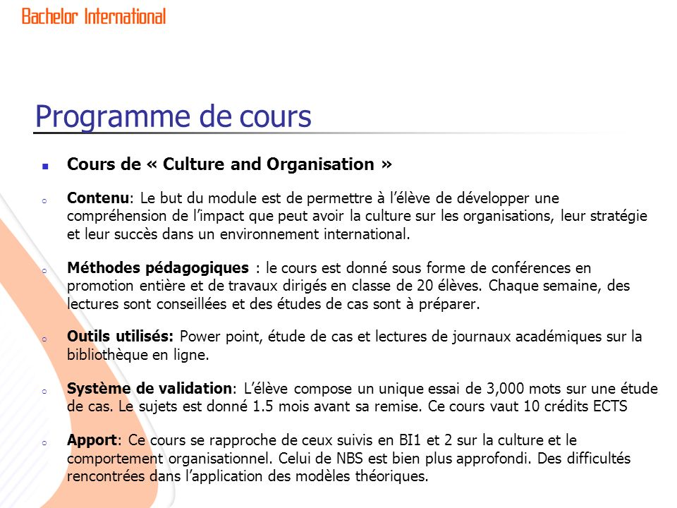 Programme de cours Cours de « Culture and Organisation »