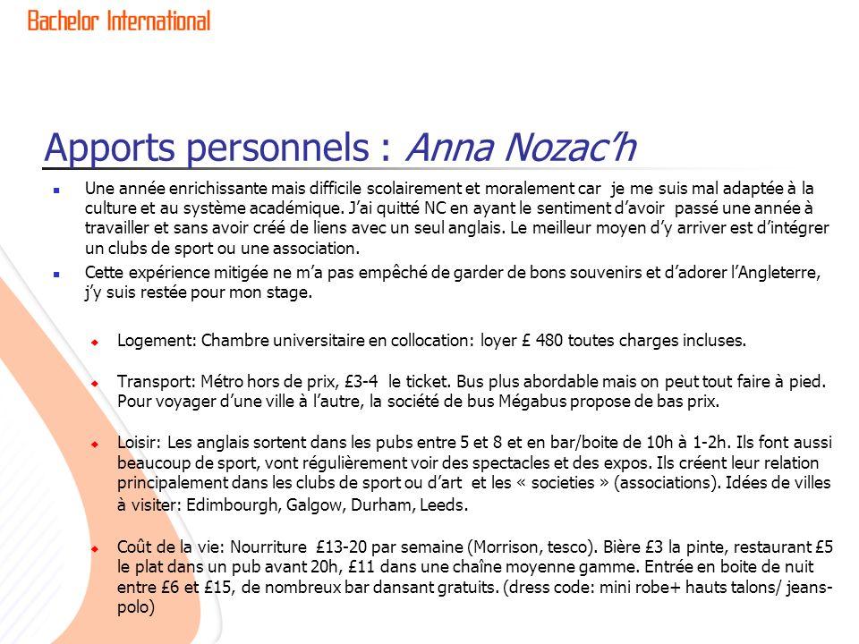 Apports personnels : Anna Nozac'h