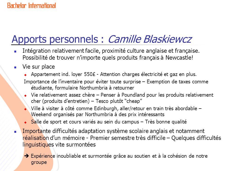 Apports personnels : Camille Blaskiewcz