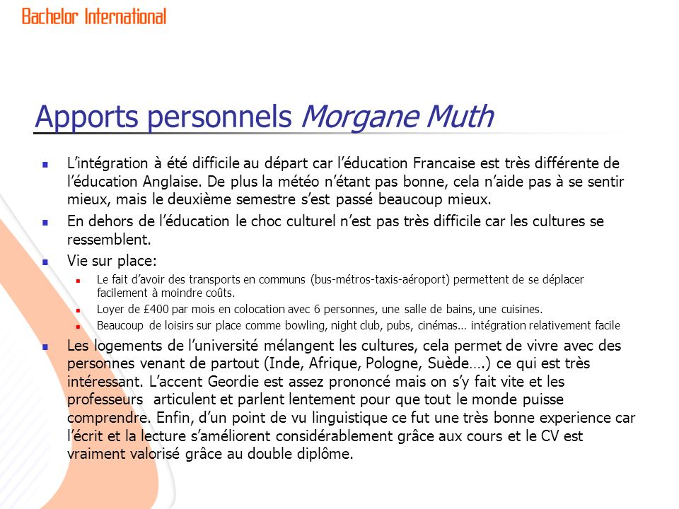 Apports personnels Morgane Muth