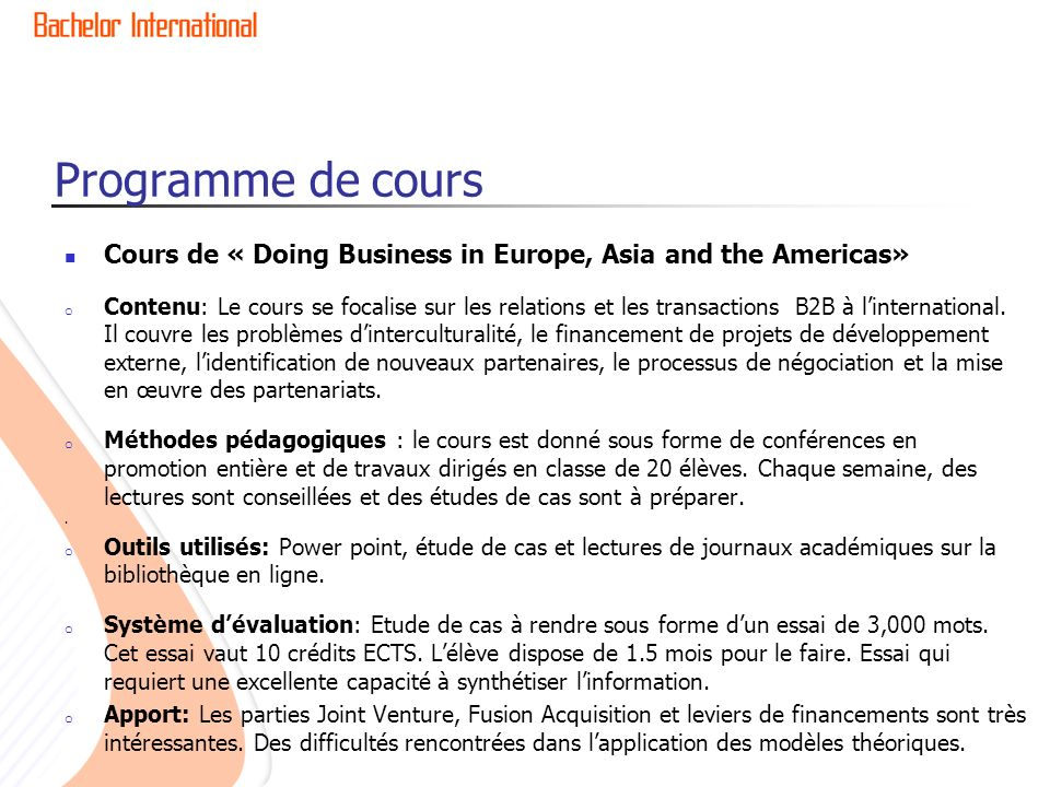Programme de cours Cours de « Doing Business in Europe, Asia and the Americas»