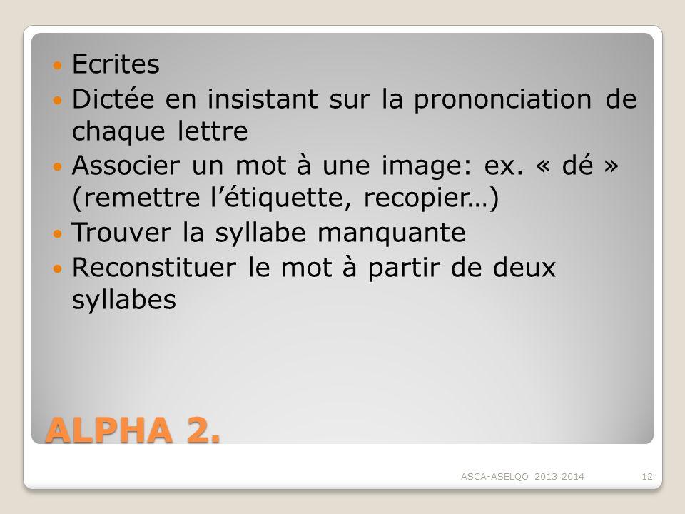 Ecrites Dictée en insistant sur la prononciation de chaque lettre. Associer un mot à une image: ex. « dé » (remettre l'étiquette, recopier…)